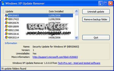 Windows XP: rimuovere gli aggiornamenti automatici