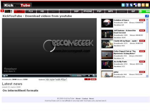 Scaricare video da YouTube in MP3, MP4, MPG ed FLV con KickYouTube