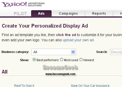 Nuovo Servizio Yahoo: My Display Ads