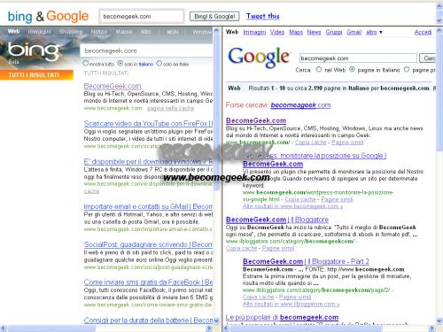 Fare ricerche su Google e Bing contemporaneamente