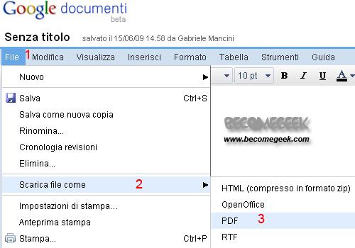 Creare pdf con Gmail di Google
