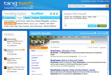 Microsoft lancia BingTweets