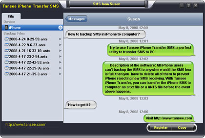 Tansee iPhone Transfer SMS - Single contact conversation