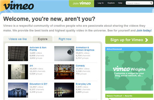 vimeo website interface