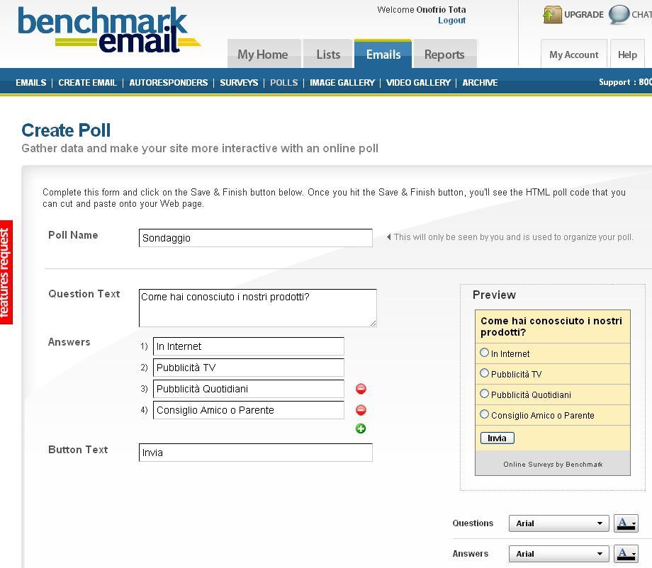 creare sondaggi per il tuo sito web