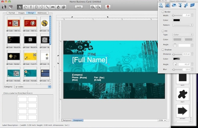 Mac Business Card designer screen shot.
