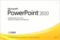 Microsoft PowerPoint start screen
