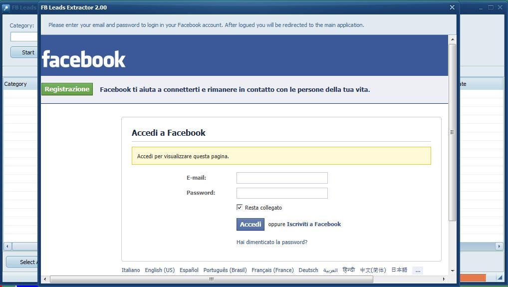 estrarre dati da facebook