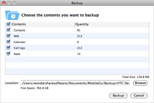 Mac Android MobileGo Backup