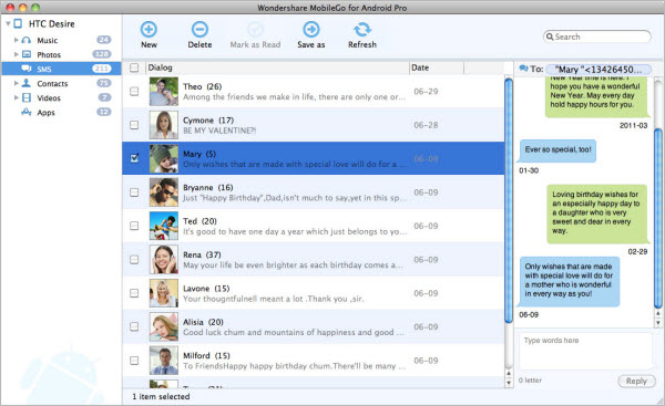 Mac Android MobileGo SMS