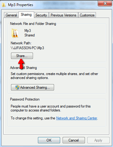 Folder Sharing Properties