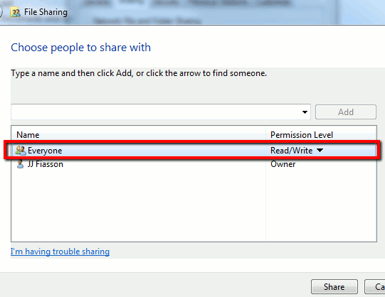 Select Users to Share WIth