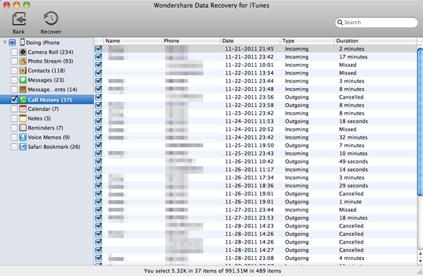 recover iphone call history