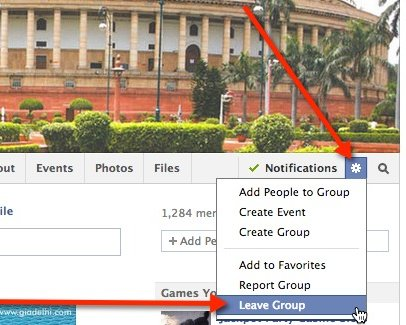 Remove yourself from a Facebook group via the gear icon.
