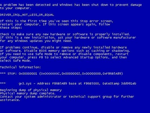 Crash Windows con Schermata Blu