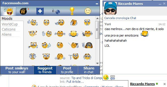 Emoticons e Faccine per Facebook