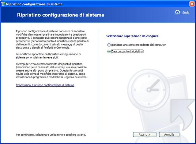 [Windows XP] Punto di ripristino del sistema