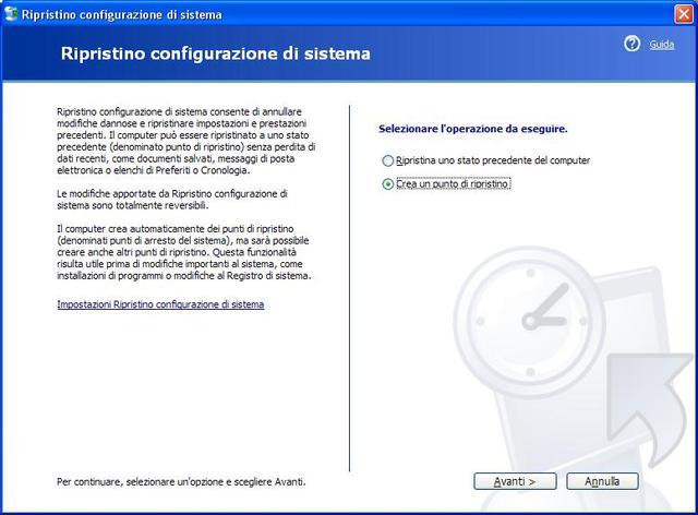 [Windows XP] Punto di ripristino del sistema