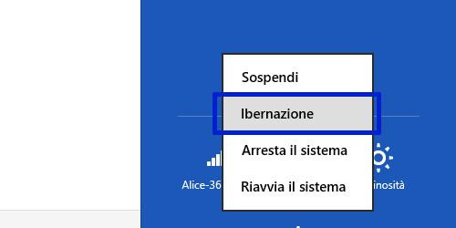 Attivare modalità ibernazione Windows 8