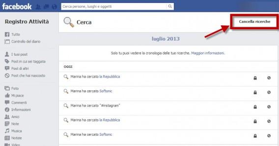 Come eliminare la cronologia di Facebook