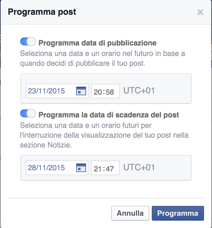 Come programmare scadenza post Facebook