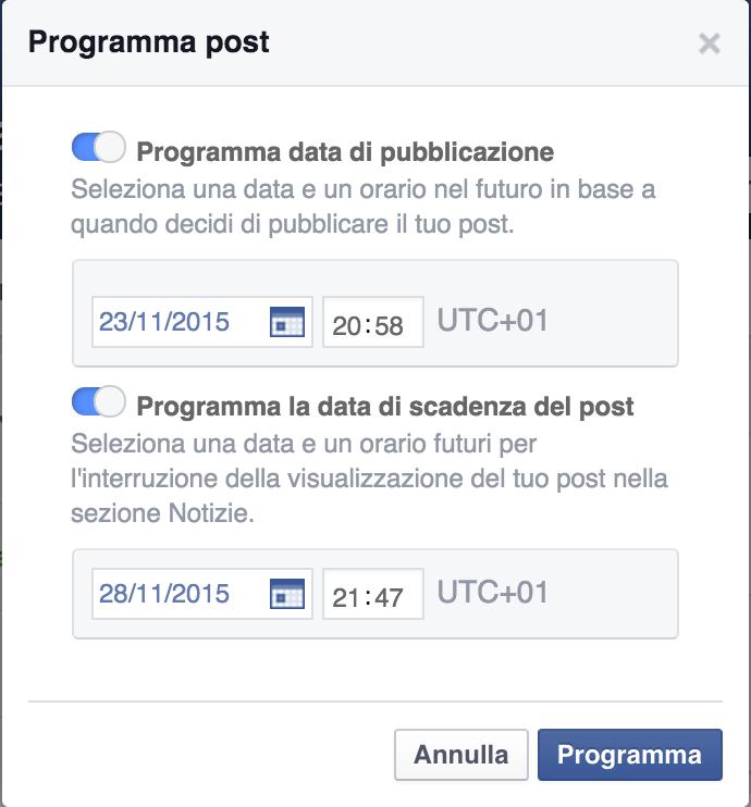 Come programmare scadenza post Facebook