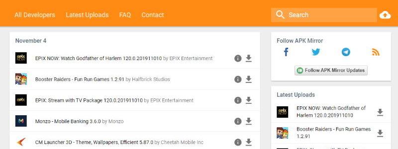 Migliori siti per scaricare file APK
